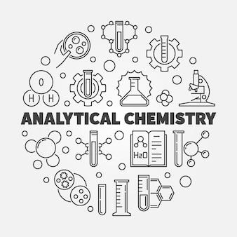Esquema del concepto de química analítica ilustración redonda