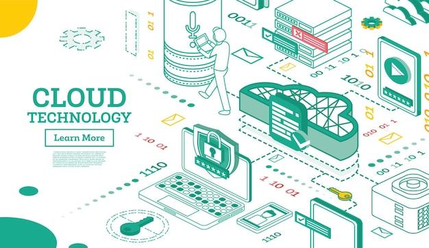 Esquema del concepto de redes de tecnología de nube isométrica. ilustración de vector. servicios de datos de internet. computación de almacenamiento en línea. plataforma en la nube. plantilla de seguridad cibernética.