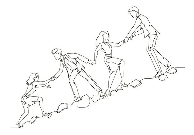 Esquema del concepto de trabajo en equipo. gente de negocios escalando juntos en arte de línea continua de montaña. asociación, concepto de motivación.