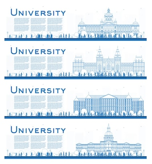 Esquema conjunto de banners de estudio del campus universitario. ilustración de vector. los estudiantes van al edificio principal de la universidad.