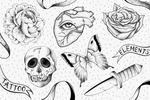 Esquema conjunto de diseño de tatuaje de tatuaje de la vieja escuela vintage