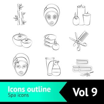 Esquema conjunto de iconos de spa