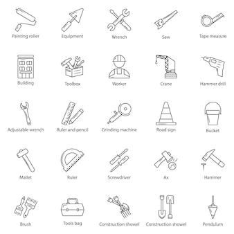 Esquema conjunto de iconos web - herramientas de construcción, construcción y reparación de viviendas.