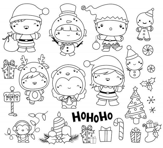 Esquema conjunto de imágenes de navidad