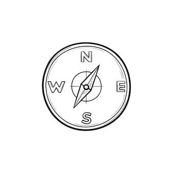 Esquema dibujado de la mano de brújula doodle icono. dirección y orientación, viajes y aventuras, concepto de navegación.