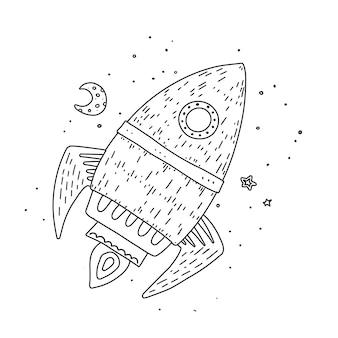 Esquema dibujado a mano de cohete de dibujos animados