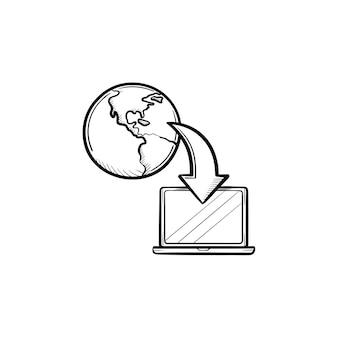Esquema dibujado a mano de educación en línea doodle icono. ordenador portátil para la ilustración de esbozo de vector de educación en línea para impresión, web, móvil e infografía aislado sobre fondo blanco.