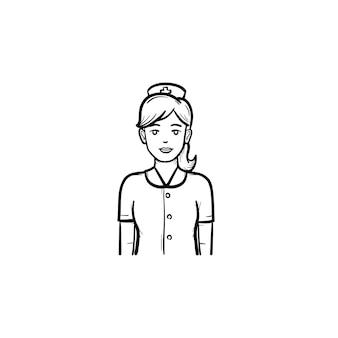 Esquema dibujado de la mano de enfermera doodle icono. hermosa enfermera en uniforme. concepto de medicina y salud.