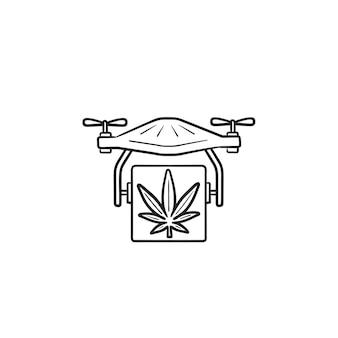 Esquema dibujado de mano de entrega de drone de cannabis doodle icono. envío de drogas en quadcopter, concepto de entrega de marihuana