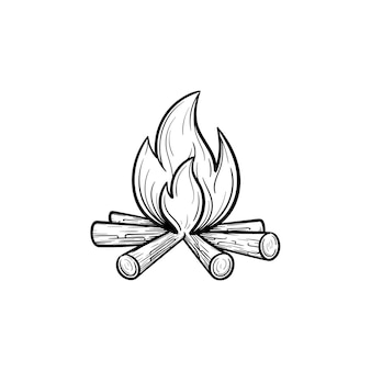 Esquema dibujado de la mano de fogata doodle icono. ilustración de dibujo de vector de chimenea para impresión, web, móvil e infografía aislado sobre fondo blanco.