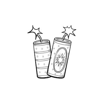 Esquema dibujado de la mano de fuegos artificiales doodle icono. ilustración de dibujo vectorial de fuegos artificiales para impresión, web, móvil e infografía aislado sobre fondo blanco.
