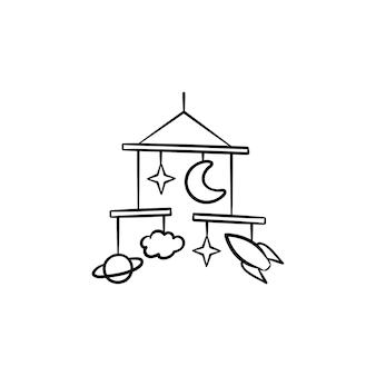 Esquema dibujado de la mano del juguete móvil del bebé doodle icono. juguetes móviles para bebés como concepto de niños duermen y calman la ilustración de dibujo vectorial para impresión, web, móvil e infografía aislado sobre fondo blanco.