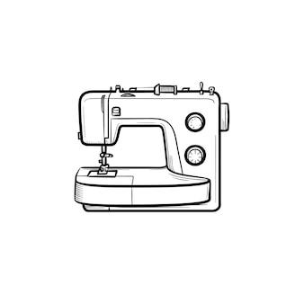 Esquema dibujado de la mano de la máquina de coser doodle icono. ilustración de dibujo vectorial de máquina de coser para impresión, web, móvil e infografía aislado sobre fondo blanco.