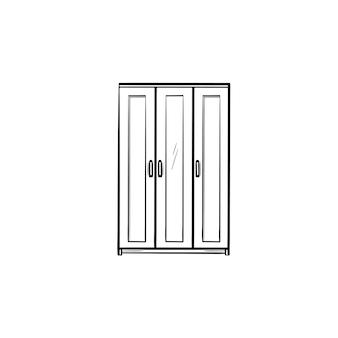 Esquema dibujado a mano de muebles de armario doodle icono. muebles para ilustración de dibujo de vector de ropa para impresión, web, móvil e infografía aislado sobre fondo blanco.