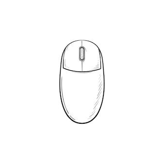 Esquema dibujado de la mano del ratón de la computadora doodle icono. tecnología informática e internet, pc y concepto de dispositivo señalador