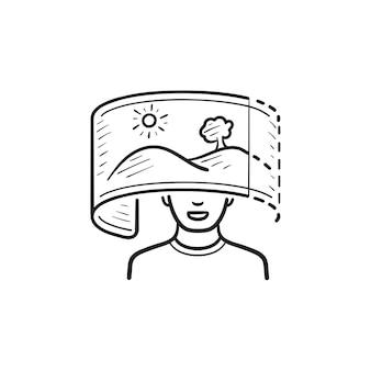 Esquema dibujado a mano de la realidad virual visión naturaleza panorámica doodle icono. imagen de 360 grados, concepto de espacio cibernético