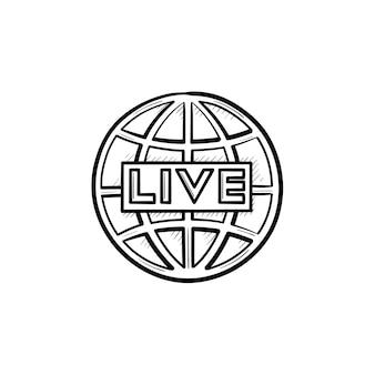 Esquema dibujado de la mano de tv en vivo doodle icono