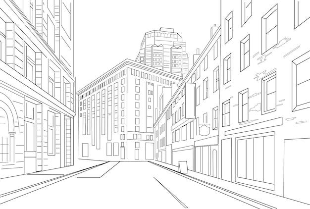 Esquema de dibujo vectorial de una ciudad