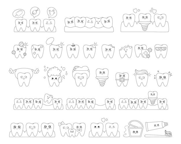 Esquema de los dientes kawaii con emodji, cuidado dental, odontología