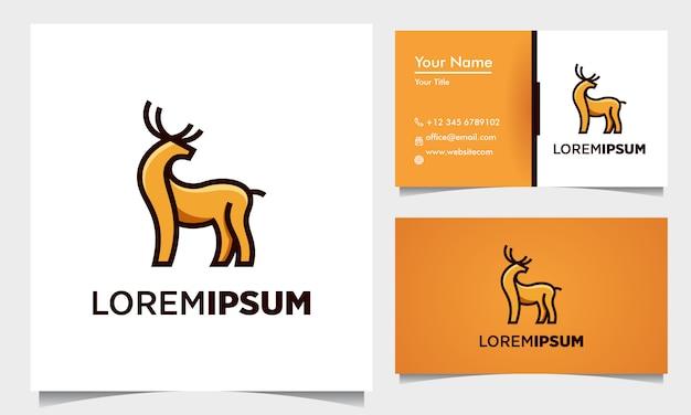Esquema de diseño de logotipo geométrico de color de ciervo con plantilla de tarjeta de visita