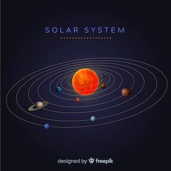 Esquema elegante del sistema solar con diseño realista