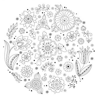 Esquema de elementos decorativos dibujados a mano en estilo infantil doodle - flores y plantas. patrón para colorear página del libro.