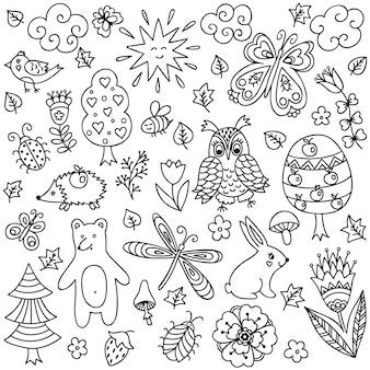 Esquema de elementos decorativos dibujados a mano en estilo infantil garabato - animales e insectos, árboles y plantas. patrón para colorear página del libro.