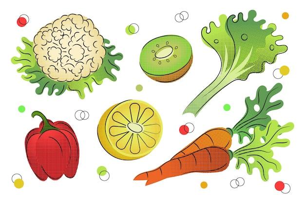 Esquema de fondo de frutas y verduras