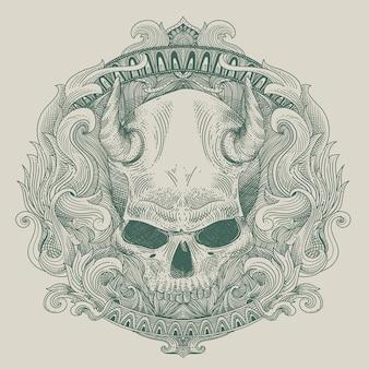 Esquema de grabado del cráneo del diablo