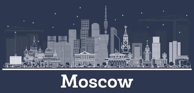 Esquema del horizonte de la ciudad de moscú rusia con edificios blancos. ilustración