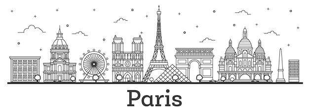 Esquema del horizonte de la ciudad de parís francia con edificios históricos aislados en blanco.