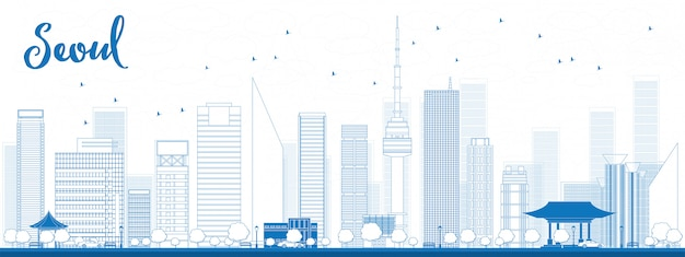 Esquema del horizonte de seúl con edificio azul