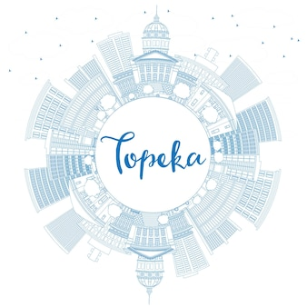 Esquema del horizonte de topeka con edificios azules y copie el espacio. ilustración de vector. concepto de turismo y viajes de negocios con arquitectura moderna. imagen para el cartel de presentación y el sitio web.