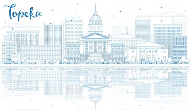 Esquema del horizonte de topeka con edificios azules y reflejos. ilustración de vector. concepto de turismo y viajes de negocios con arquitectura moderna. imagen para el cartel de presentación y el sitio web.