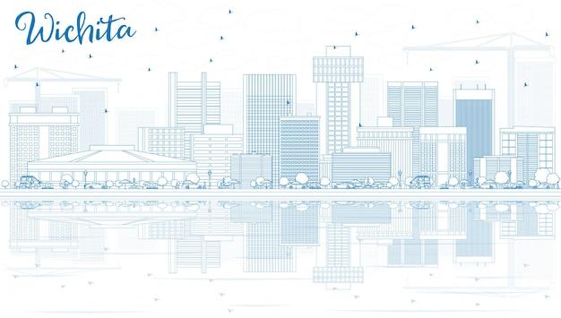 Esquema del horizonte de wichita con edificios azules y reflejos. ilustración de vector. concepto de turismo y viajes de negocios con arquitectura moderna. imagen para el cartel de presentación y el sitio web.