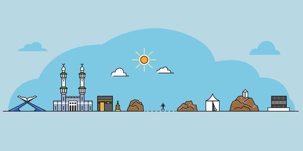 Esquema de icono de hito del rito de peregrino hajj