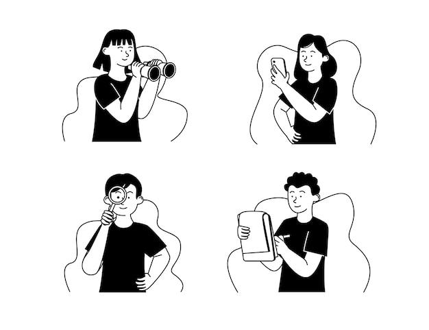 Esquema de ilustración del concepto de pensamiento y lluvia de ideas en blanco y negro