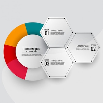 Esquema infográfico moderno con círculo de colores