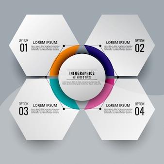 Esquema infográfico moderno de forma hexagonal