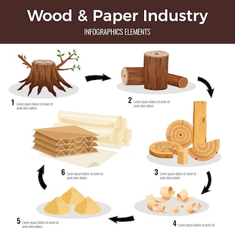 Esquema infográfico plano de fabricación de papel de madera a partir de troncos cortados, virutas de madera, pulpa convertida en cartón