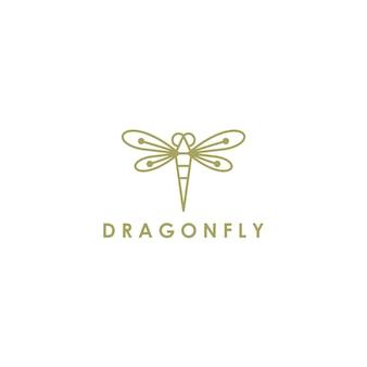 Esquema de línea de logotipo de libélula monoline