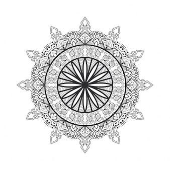 Esquema mandala para colorear. adorno redondo decorativo. patrón de terapia antiestrés. elemento de diseño de tejido. logotipo de yoga, fondo para el cartel de meditación. vector de línea oriental de forma de flor inusual.