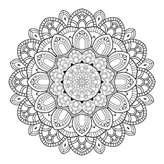 Esquema de mandala ornamental floral blanco y negro de patrón circular para colorear páginas del libro
