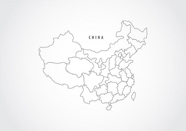 Esquema del mapa de china en el fondo blanco.