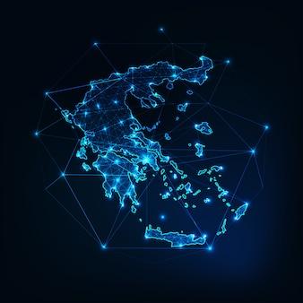 Esquema del mapa de grecia con marco abstracto de estrellas y líneas. comunicación, conexión