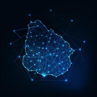 Esquema del mapa de uruguay con estrellas y líneas de fondo abstracto marco