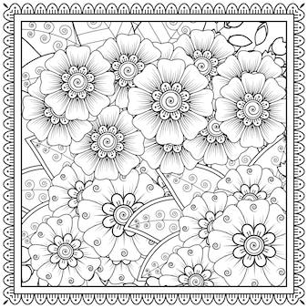 Esquema de marco floral cuadrado en estilo mehndi.