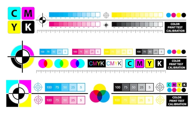Esquema de mezcla de colores o concepto de calibración de prueba de impresión en color vector eps