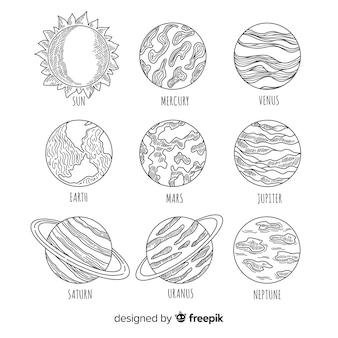 Esquema moderno del sistema solar dibujado a mano