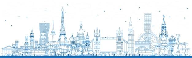 Esquema de monumentos famosos en europa. ilustración de vector. concepto de turismo y viajes de negocios. imagen para presentación, pancarta, cartel y sitio web